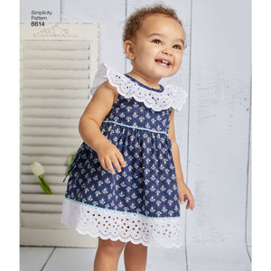 Simplicity Pattern 8614 babies dress romper and panties