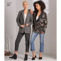 Simplicity Pattern 8697 oversized boyfriend blazers. from Jaycotts Sewing Supplies