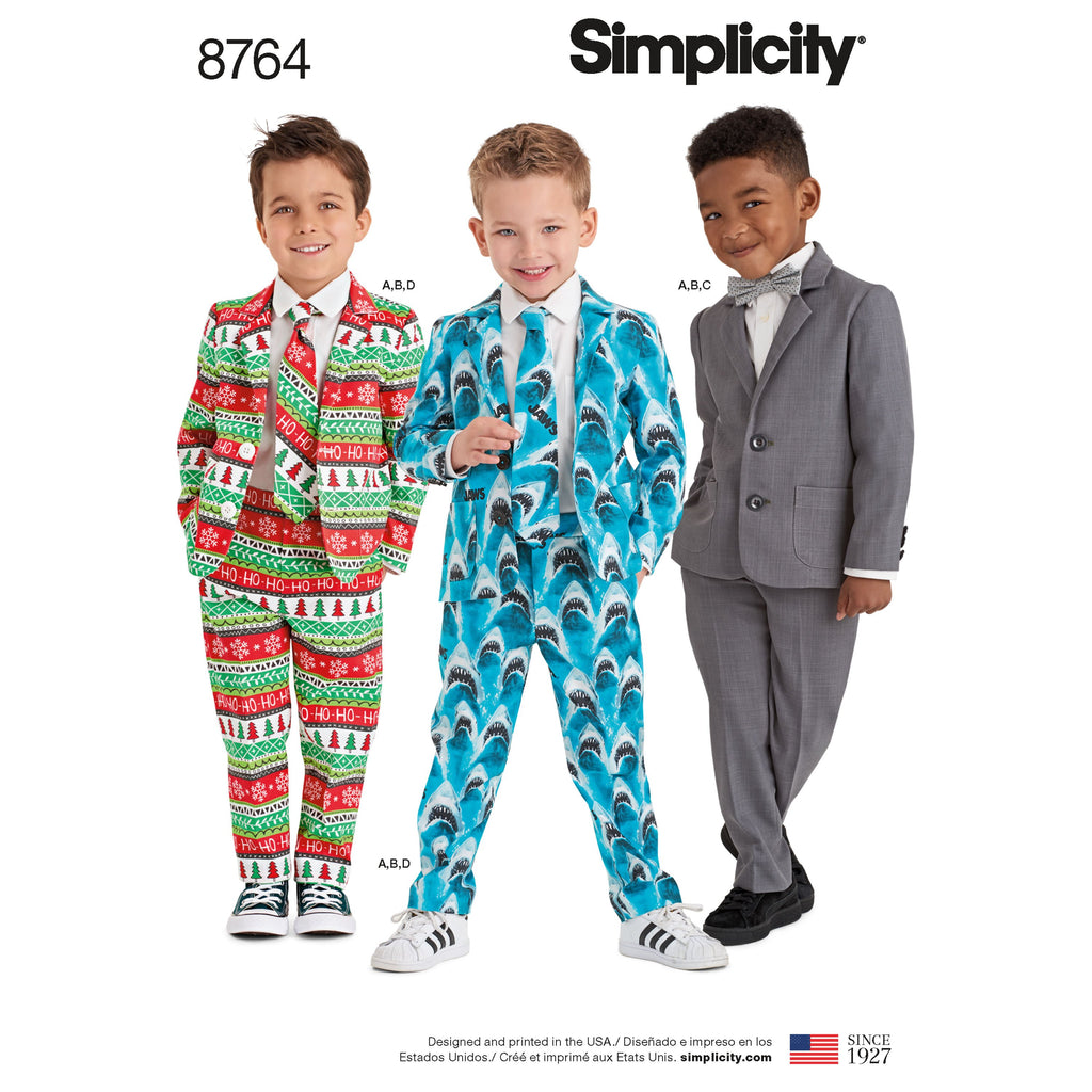 Simplicity Pattern 8764 boys suit and ties from Jaycotts Sewing Supplies