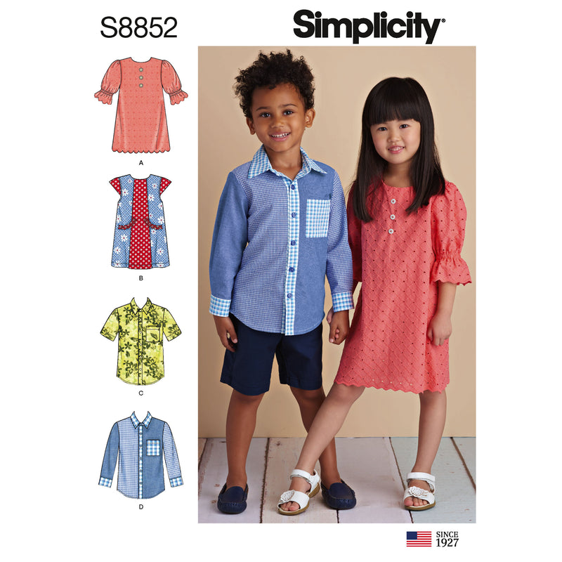 Simplicity Pattern 8852 Child's Dresses and Shirt Sewing Pattern