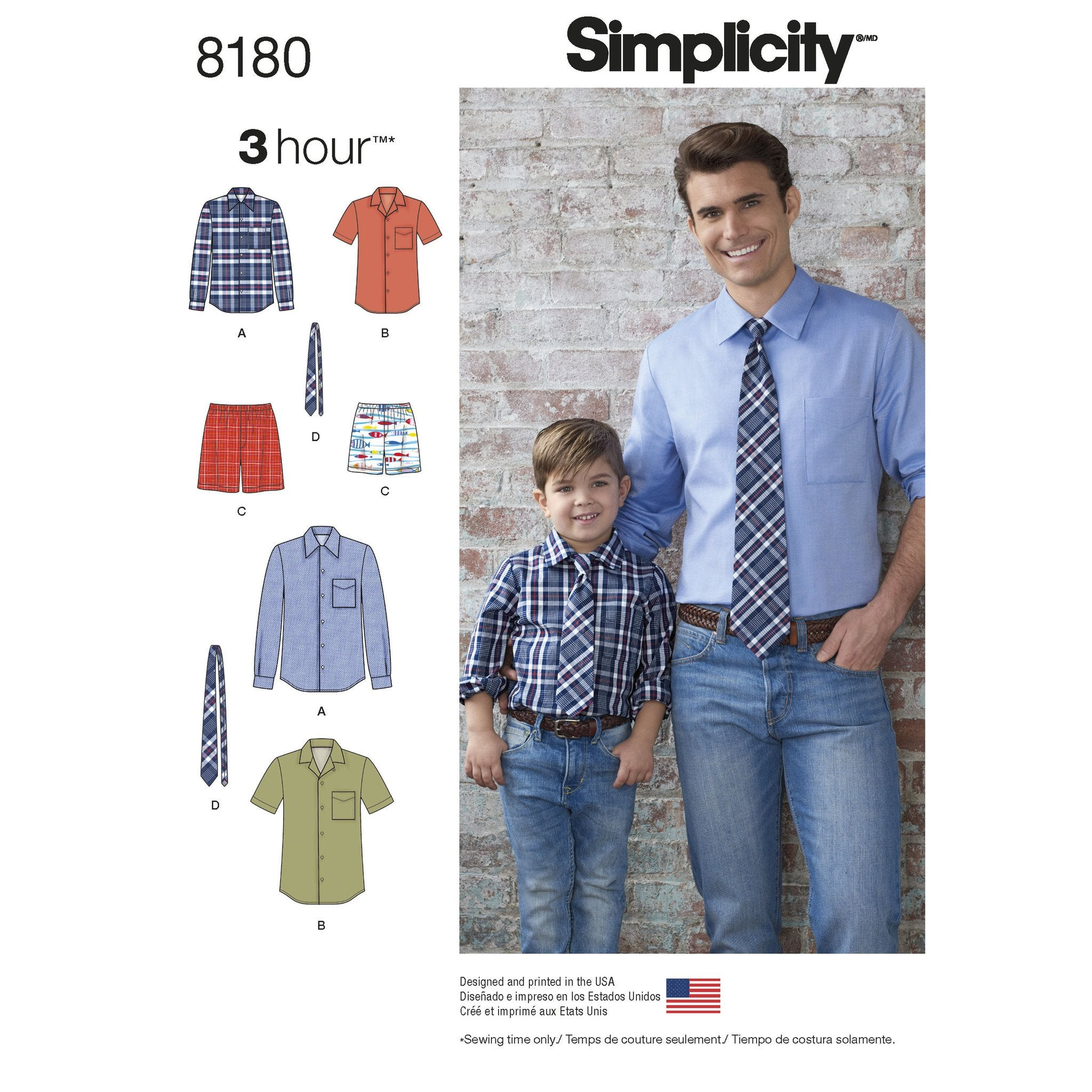 S8180 Boys' and Men's Shirt, Boxer Shorts and Tie