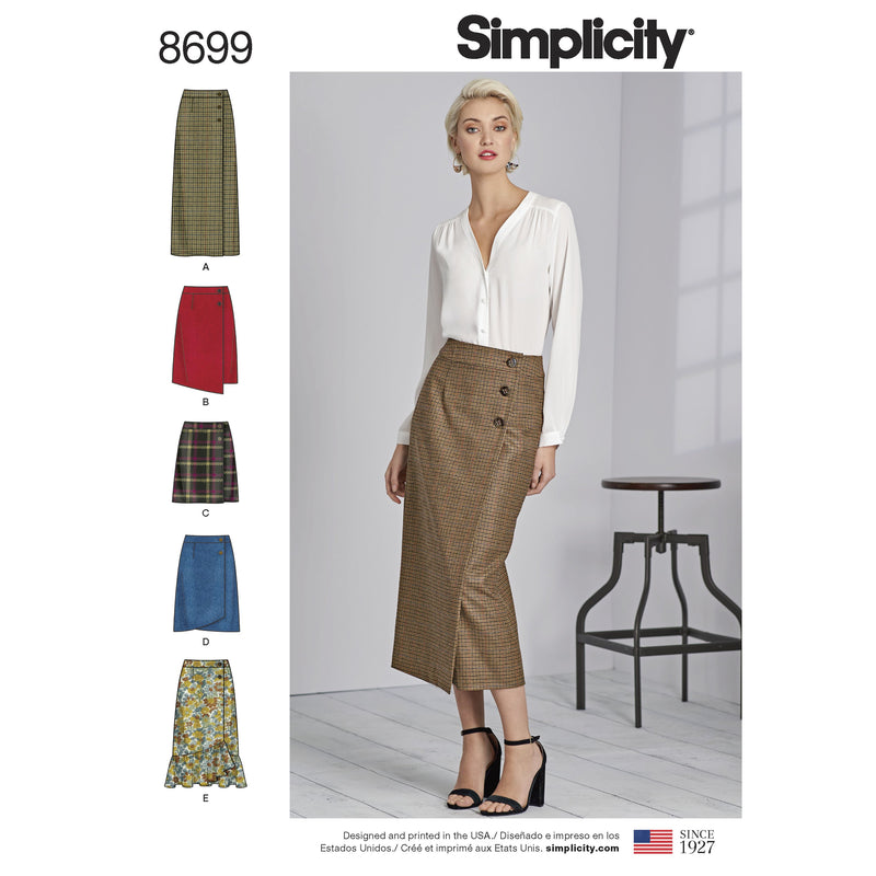 Simplicity Pattern 8699 Buttoned wrap front skirts from Jaycotts Sewing Supplies