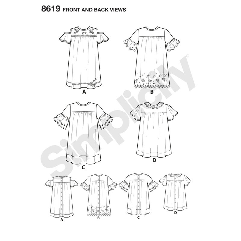 Simplicity Pattern 8619 Easy to sew dresses and tunic for children