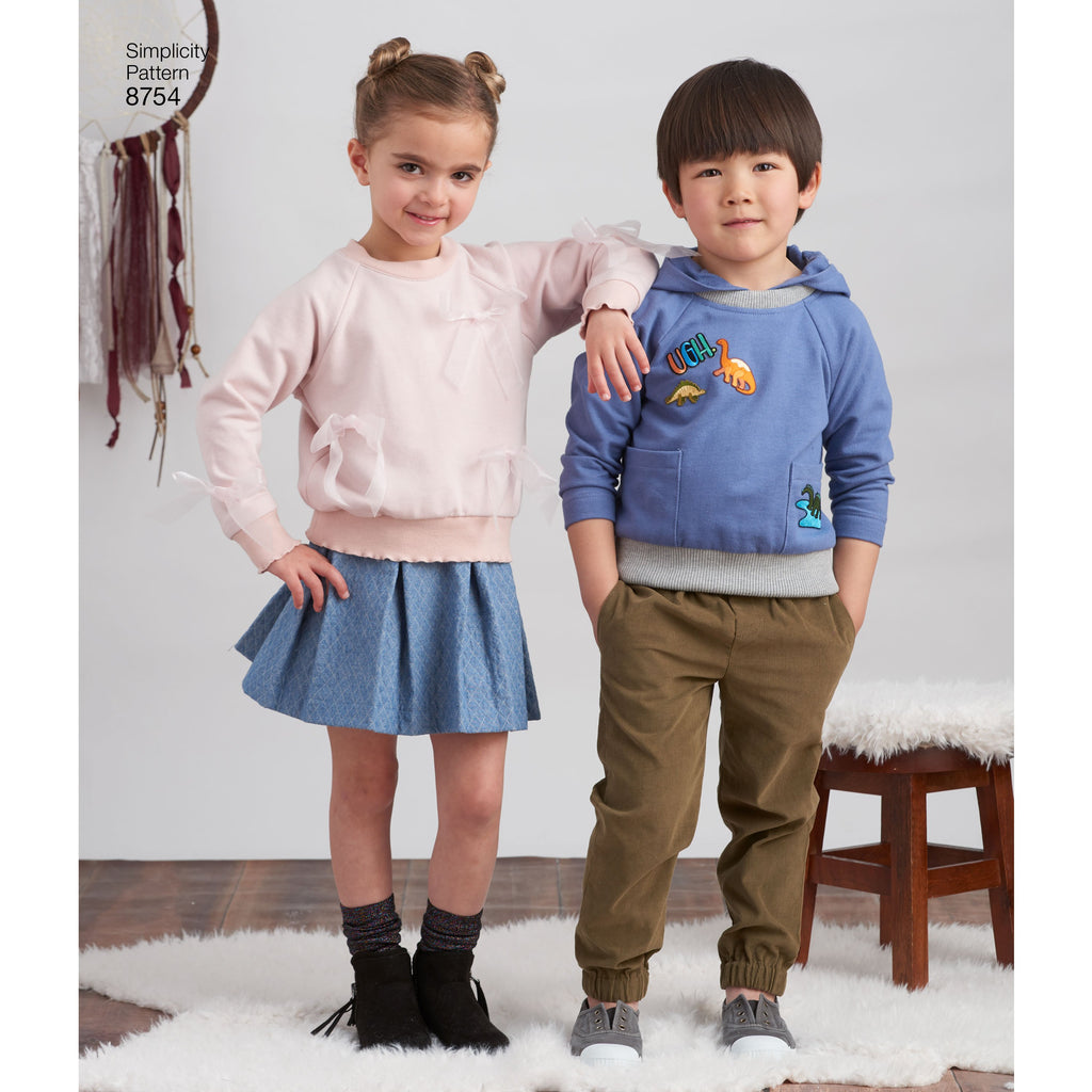 Simplicity Pattern 8754 childs trousers skirt and sweatshirts