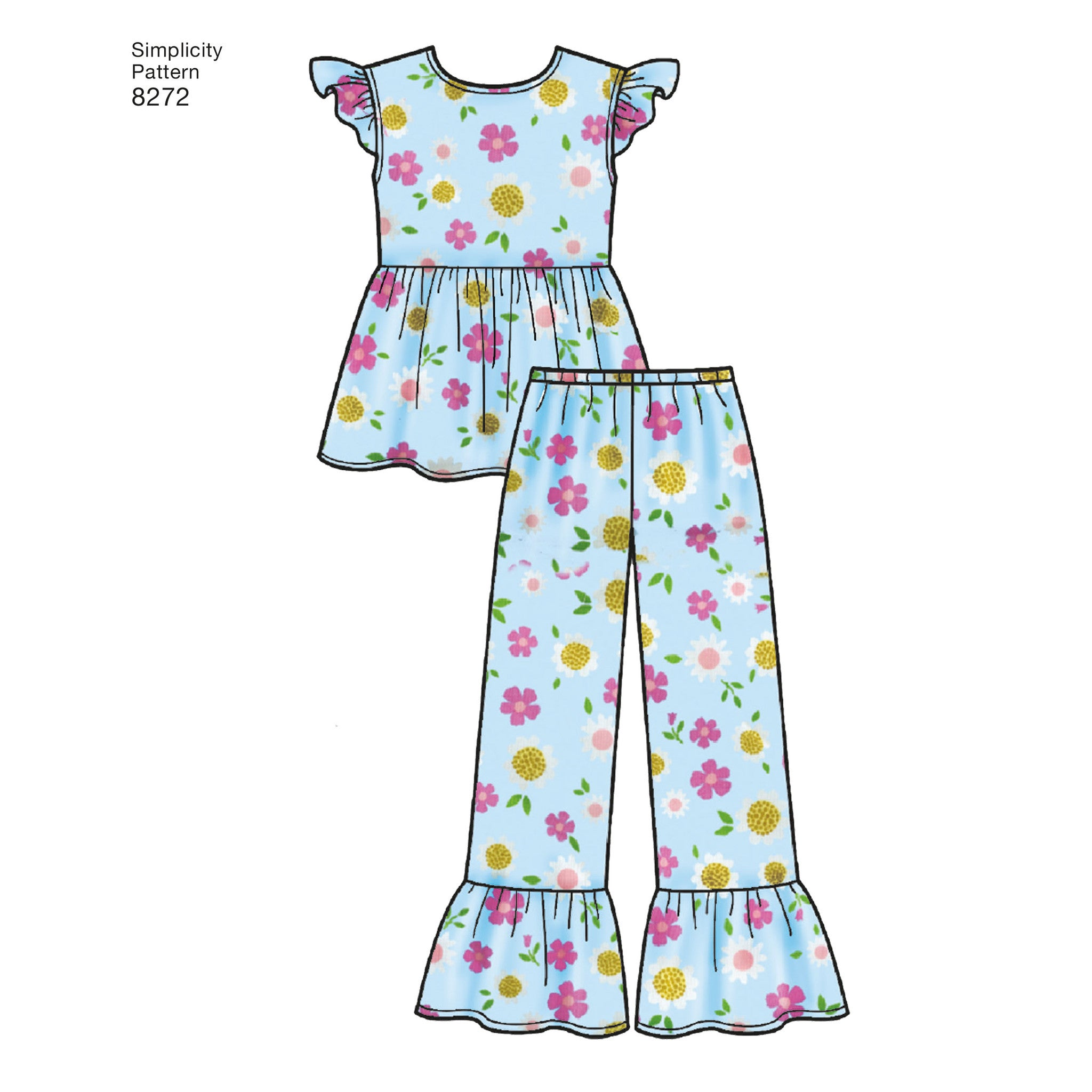 S8272 Child\'s and Girl\'s Sleepwear and Robe Simplicity Pattern ...