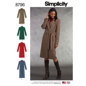 Simplicity Pattern 8796 A coat for every occasion from Jaycotts Sewing Supplies