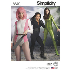 Simplicity Pattern 8670 Cosplay knit jumpsuit and bodysuit costume from Jaycotts Sewing Supplies