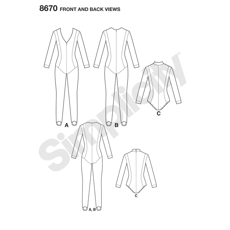Simplicity Pattern 8670 Cosplay knit jumpsuit and bodysuit costume