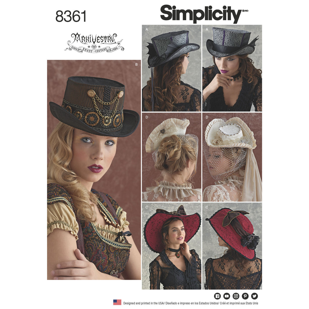 Simplicity Pattern 8361 hats in three sizes from Jaycotts Sewing Supplies
