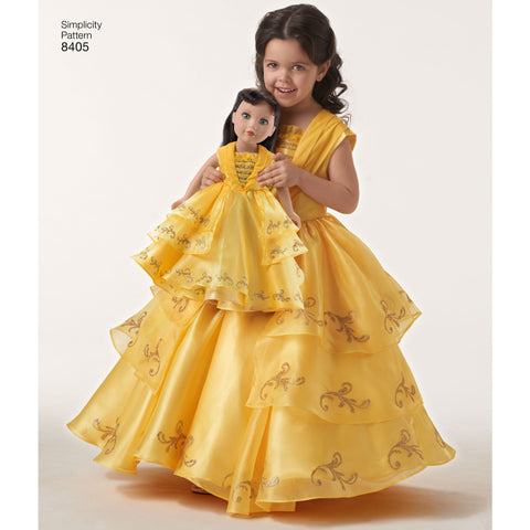 "Belle costume and matching costume for 18"" doll"