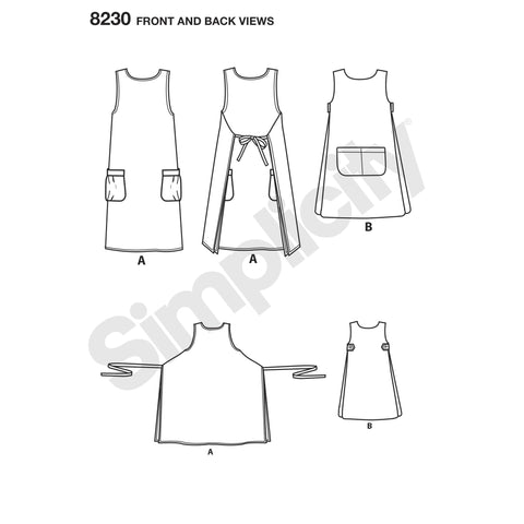 Simplicity S8230 Misses' Dottie Angel Reversible Apron Dress and Tabard