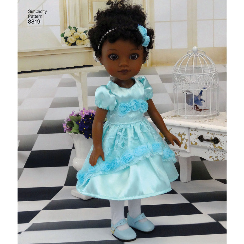 "Simplicity Pattern 8819 dresses for your 14"" dolls from Jaycotts Sewing Supplies"