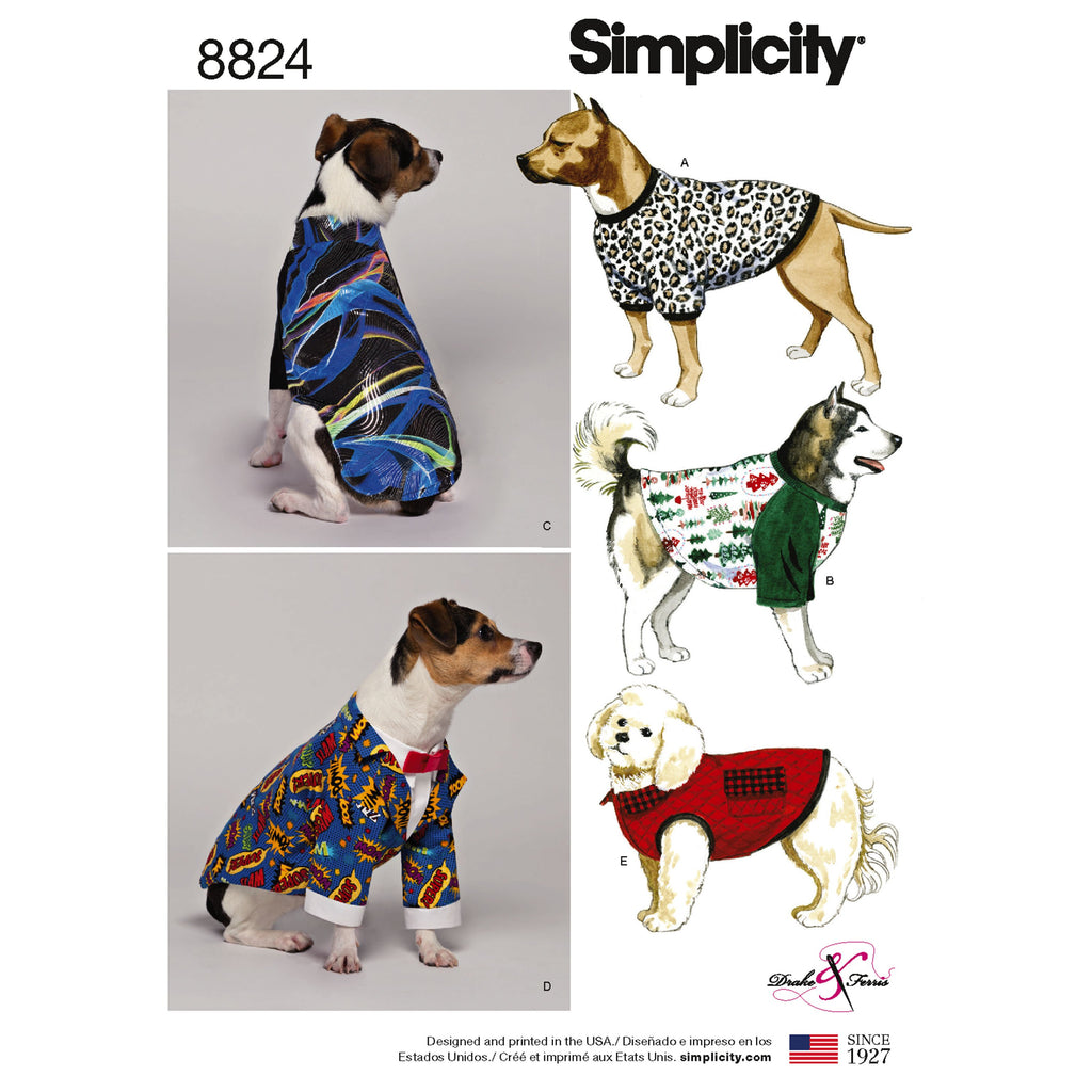 Simplicity Pattern 8824 dog coats from Jaycotts Sewing Supplies