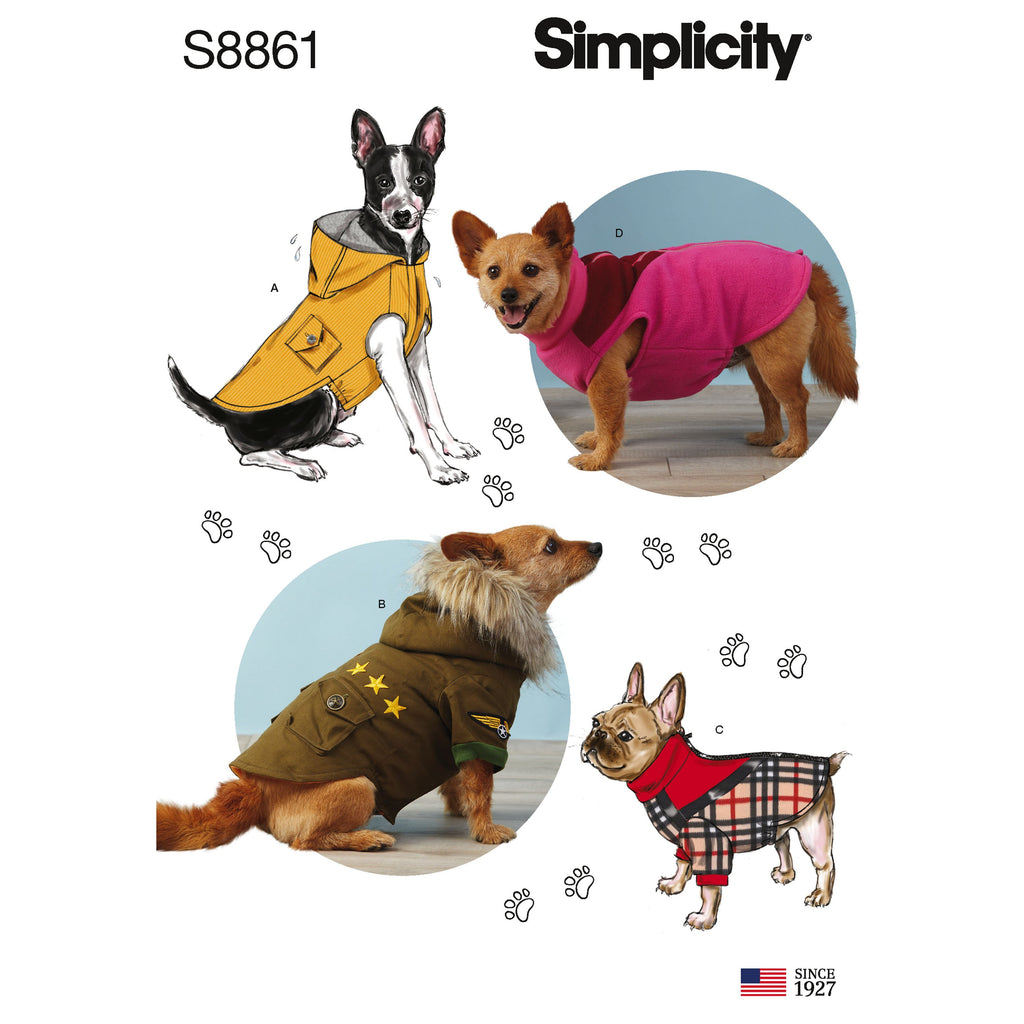 Simplicity Pattern 8861 dog coats sewing pattern from Jaycotts Sewing Supplies