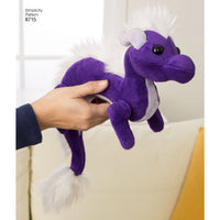 Simplicity Pattern 8715 stuffed toy dragons from Jaycotts Sewing Supplies