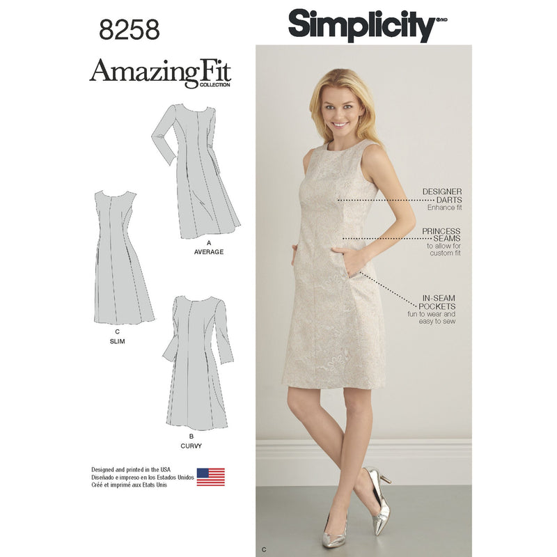 Simplicity Pattern 8258  Dress sized for miss and plus sizes from Jaycotts Sewing Supplies