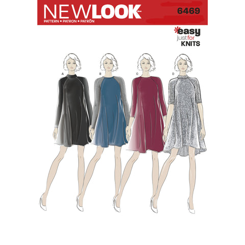 NL6469 Easy Knit Dress with Length and Sleeve Variations