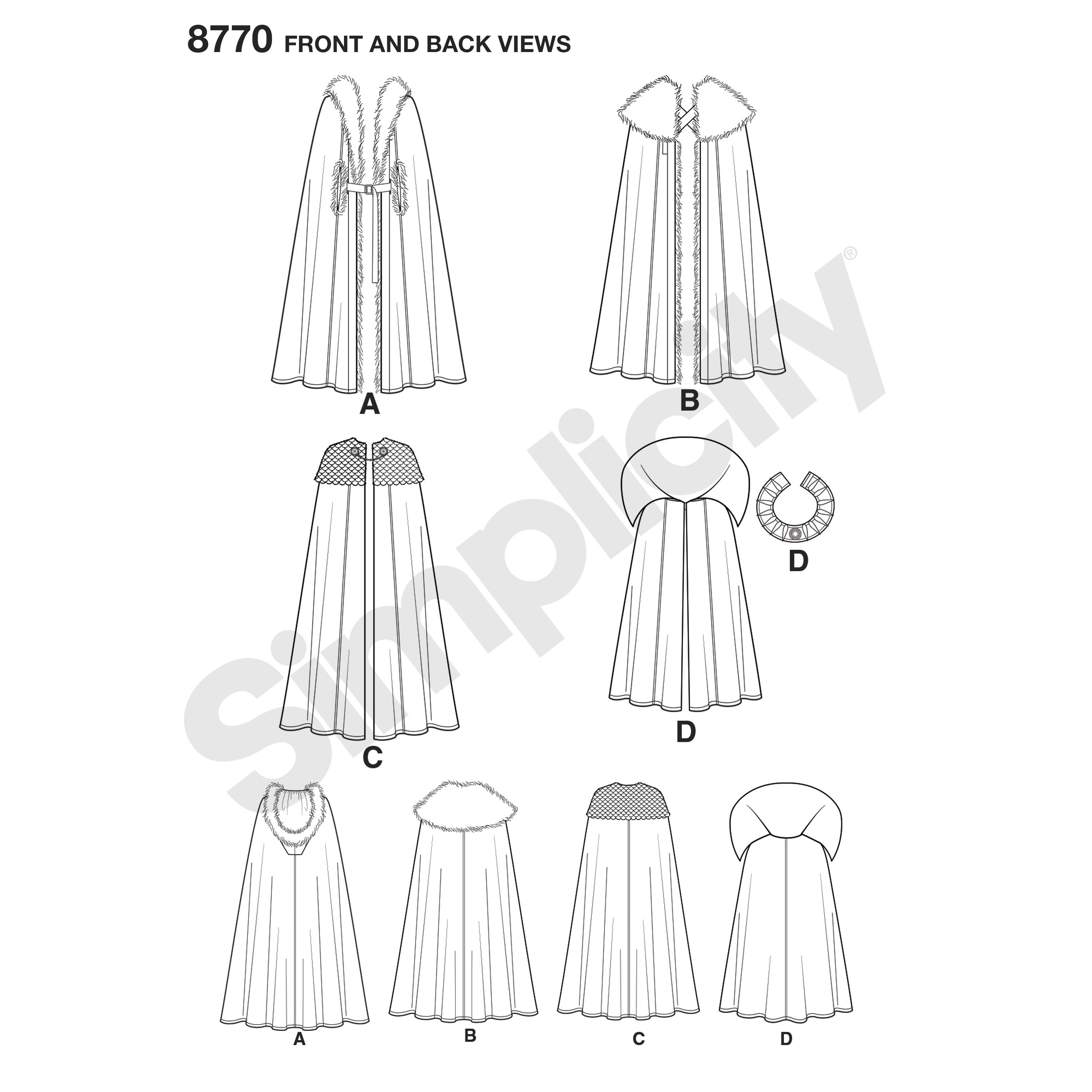 Simplicity Pattern S8770 Unisex Costume Capes