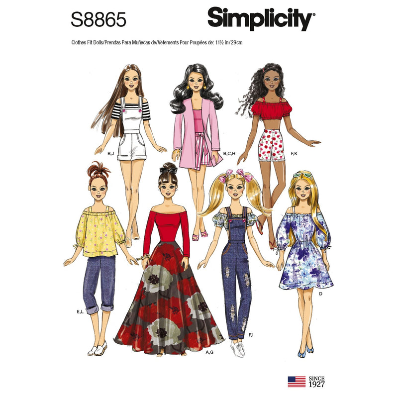 Simplicity 8865 11-1/2inch fashion doll clothes sewing pattern