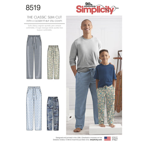 S8519 Boys' and Men's Slim Fit Lounge Trousers