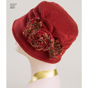 Simplicity Pattern 8573 womens flapper hats in three-sizes from Jaycotts Sewing Supplies