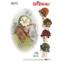 Simplicity Pattern 8573 womens flapper hats in three-sizes