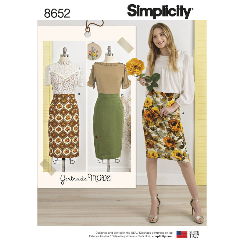 Simplicity Pattern 8652 vintage inspired pencil skirt