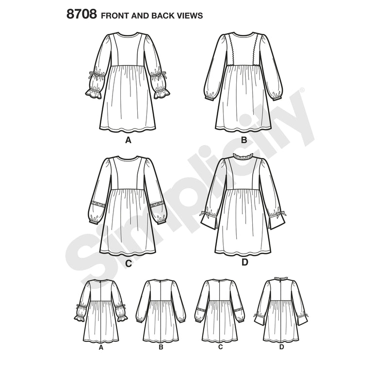 Simplicity Pattern 8708 Trimmed dresses for girls
