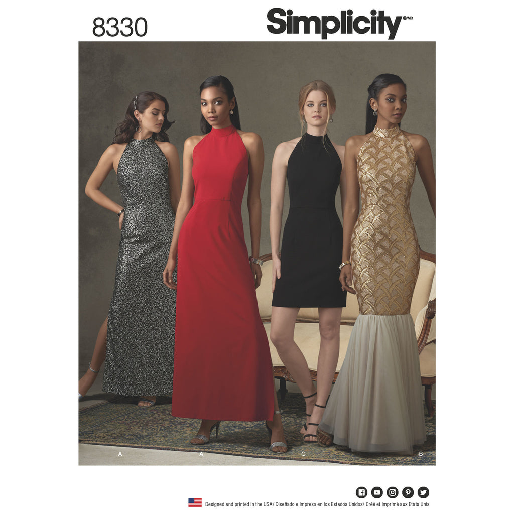 Simplicity Pattern 8330 misses dress with skirt and back variations from Jaycotts Sewing Supplies