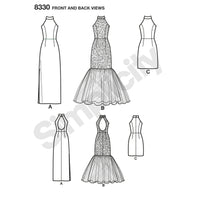 Simplicity Pattern 8330 misses dress with skirt and back variations