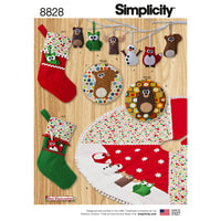 Simplicity Pattern 8828 ornaments, stockings, tree skirt and wall hangers. from Jaycotts Sewing Supplies