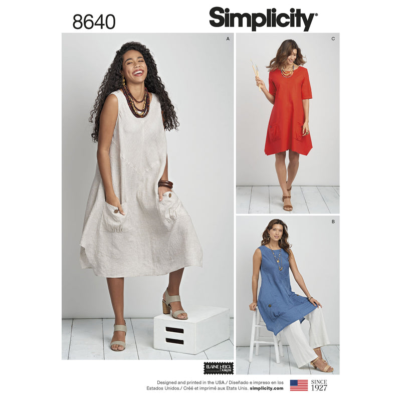 Simplicity Pattern 8640  loose fitting dress from Jaycotts Sewing Supplies