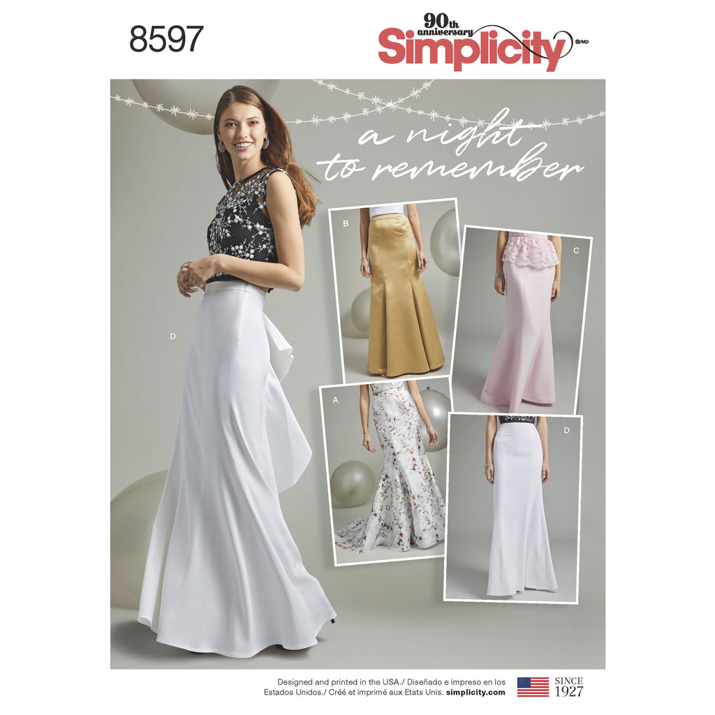 Simplicity Pattern 8597 womens special occasion skirts from Jaycotts Sewing Supplies