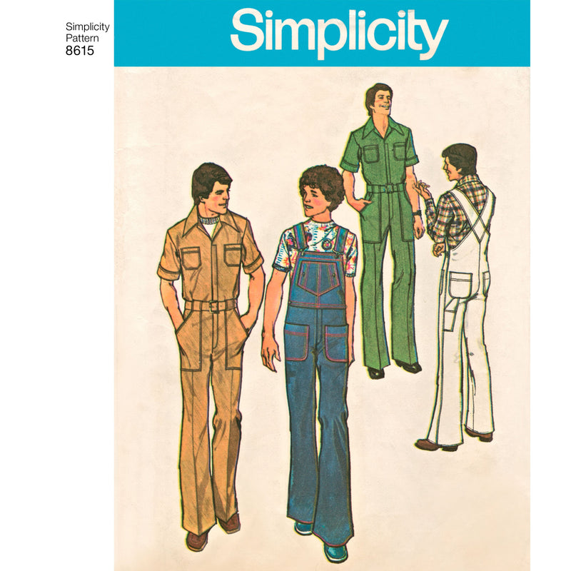 Simplicity Pattern 8615  Men's Vintage 1970's jumpsuit and overall.