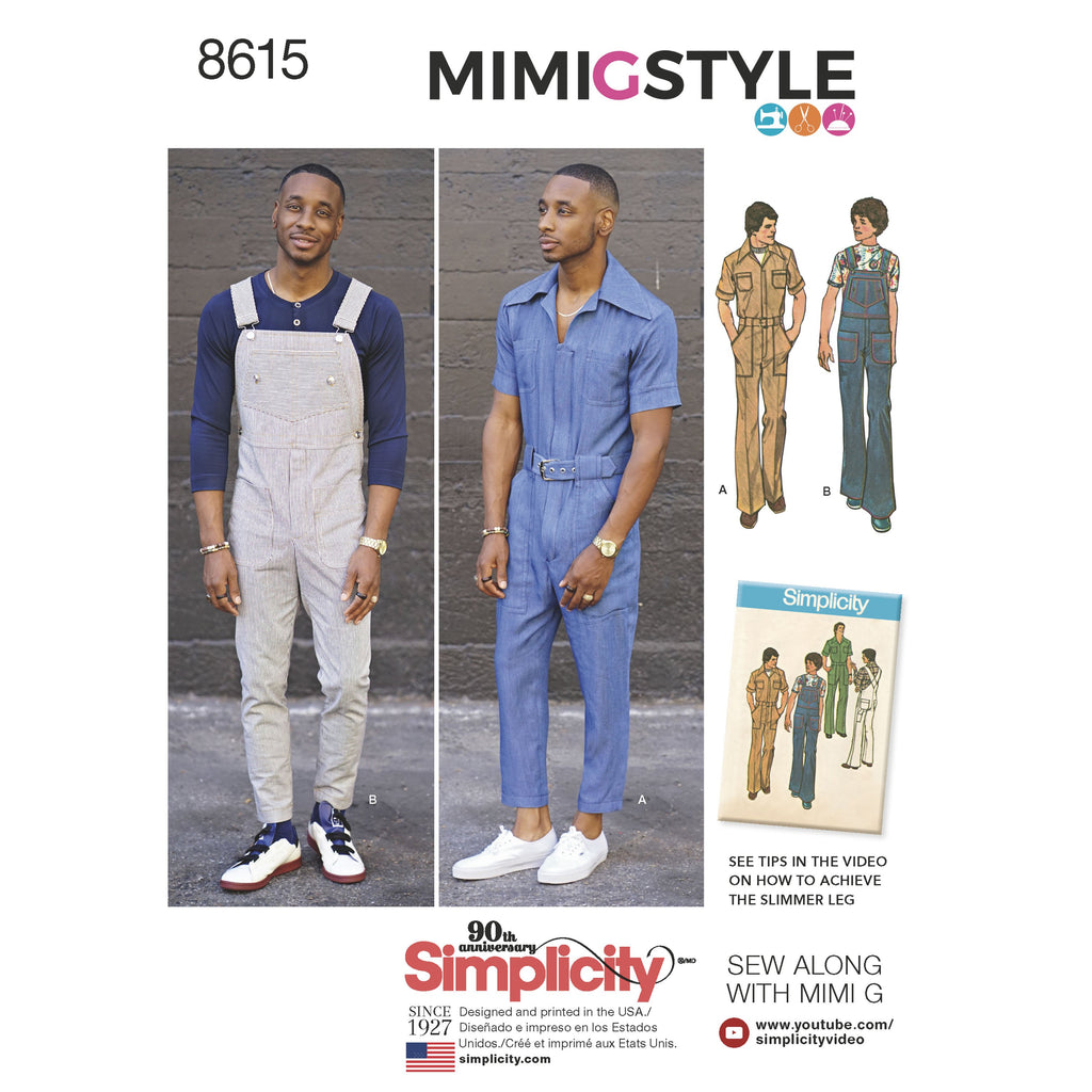Simplicity Pattern 8615  Men's Vintage 1970's jumpsuit and overall. from Jaycotts Sewing Supplies
