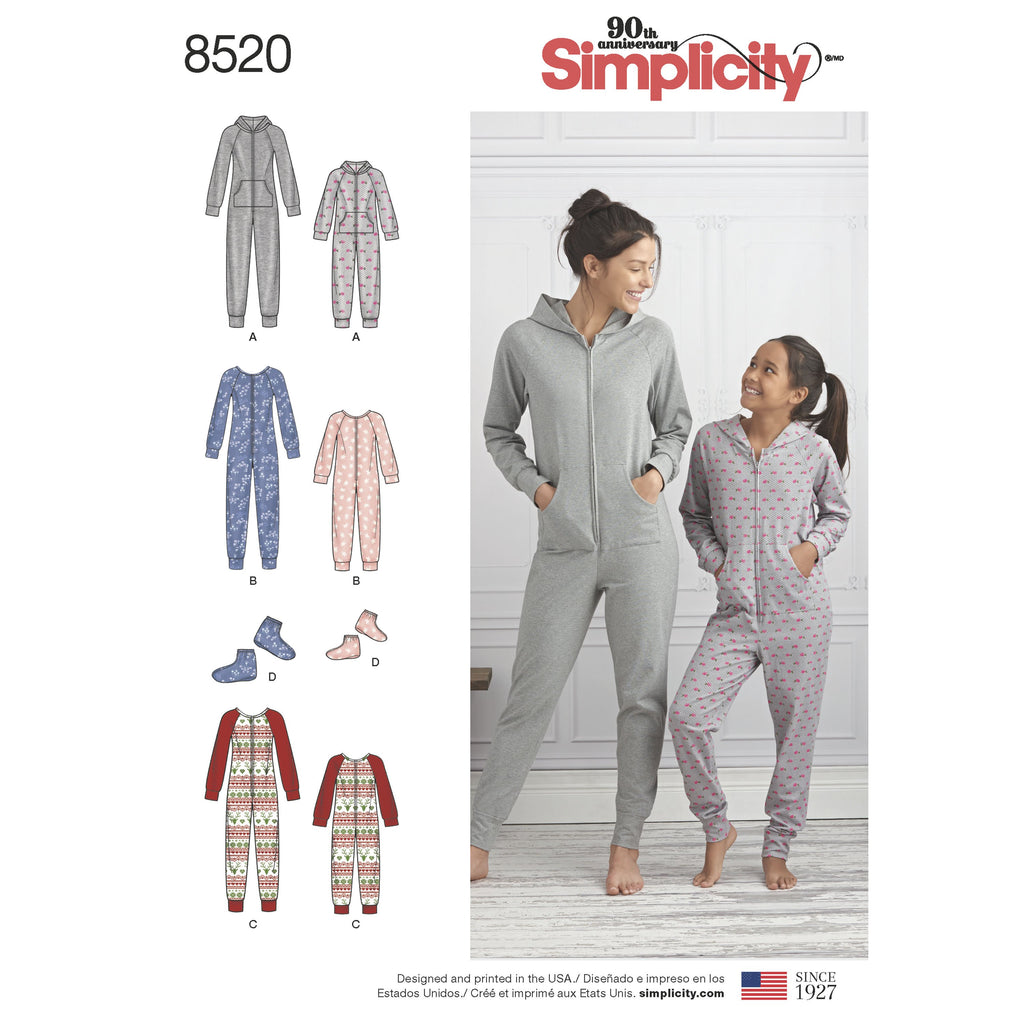 Simplicity Pattern 8520 giris and misses jumpsuits and booties from Jaycotts Sewing Supplies