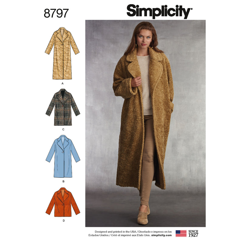 Simplicity Pattern 8797 lined coat from Jaycotts Sewing Supplies