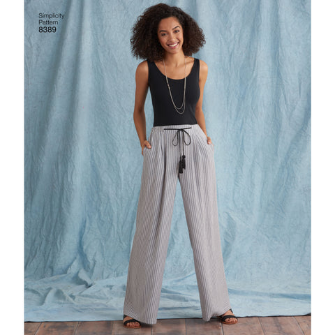 long trousers with a wide leg and elasticated waistband