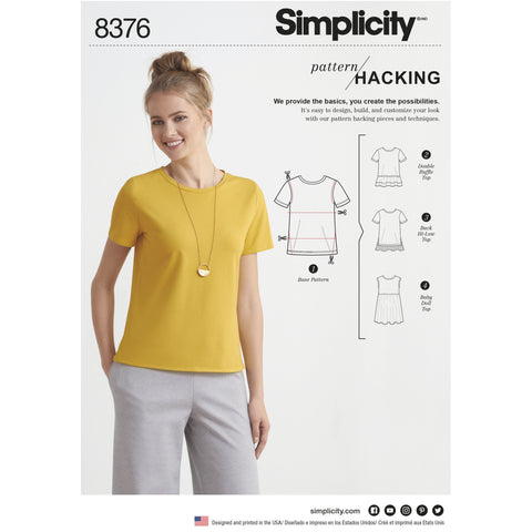 S8376 Women's Knit Top with Multiple Pieces for Design Hacking