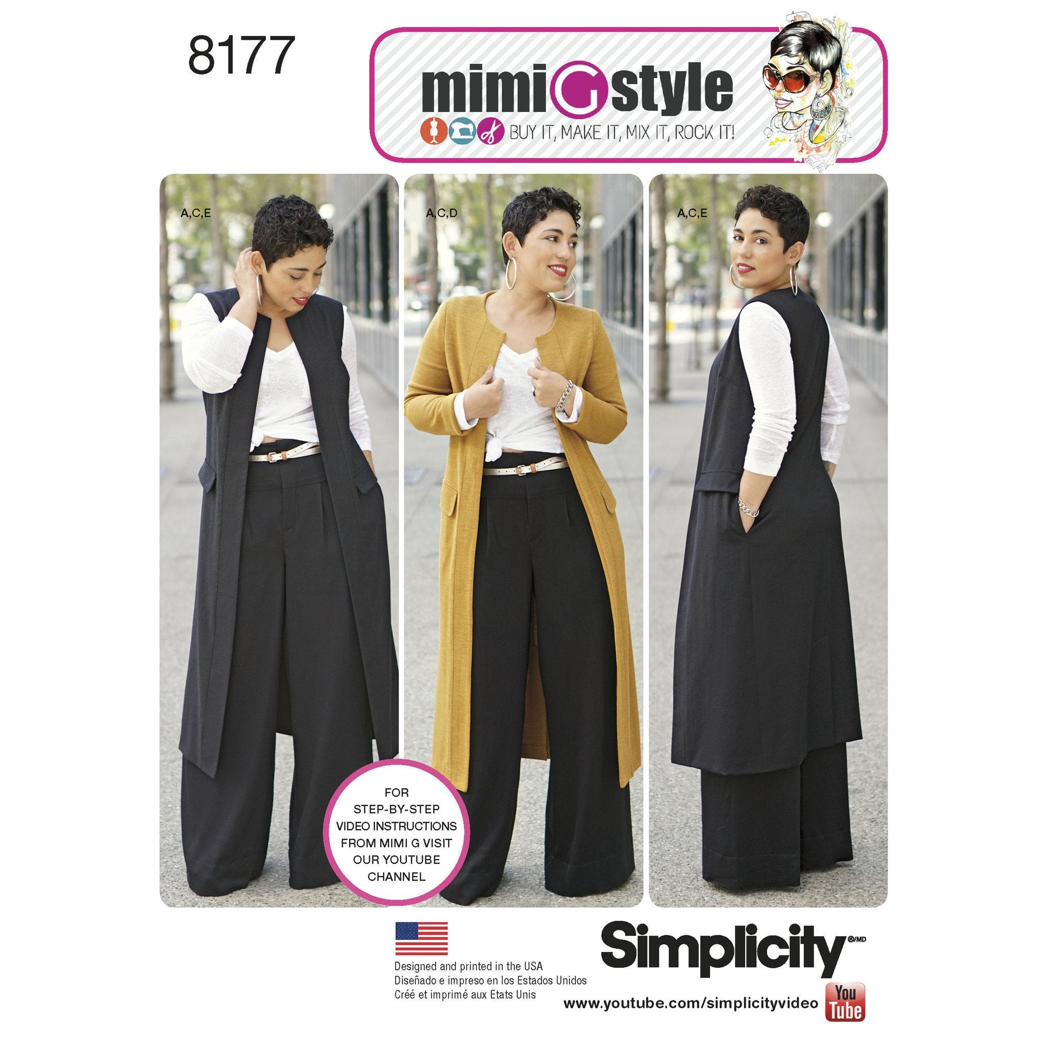 S8177 Mimi G Style Trouser, Coat or Vest, and Knit Top for Miss and Plus Sizes