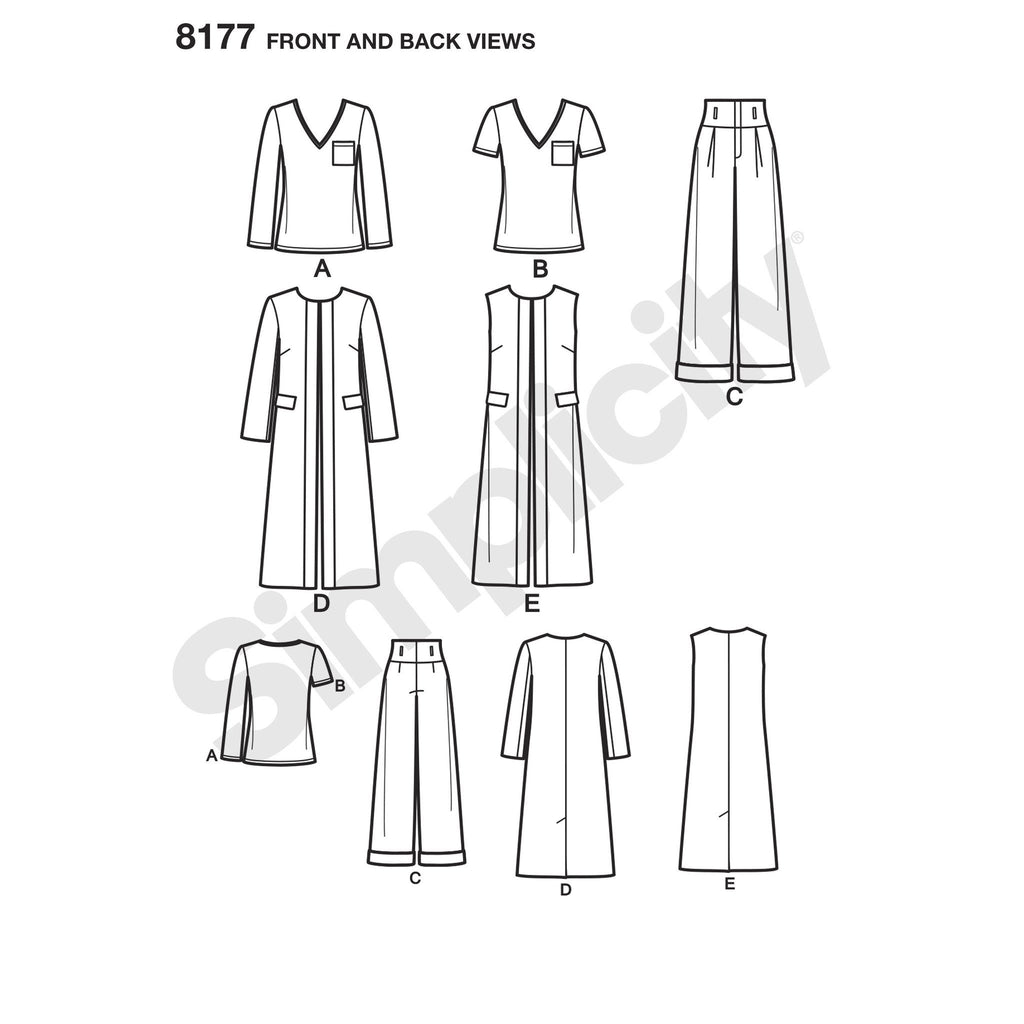 Simplicity Pattern 8177 features a duster length coat or vest,