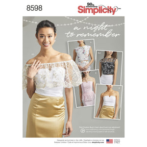 Simplicity Pattern 8598 special occasion tops pattern from Jaycotts Sewing Supplies