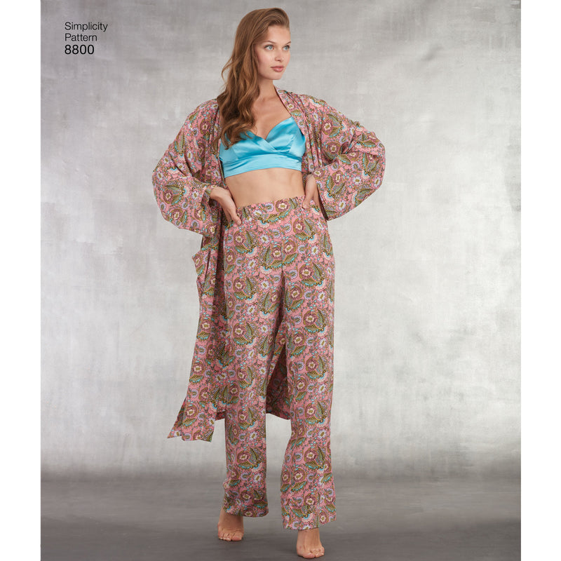Simplicity Pattern 8800 misses robe pants top from Jaycotts Sewing Supplies