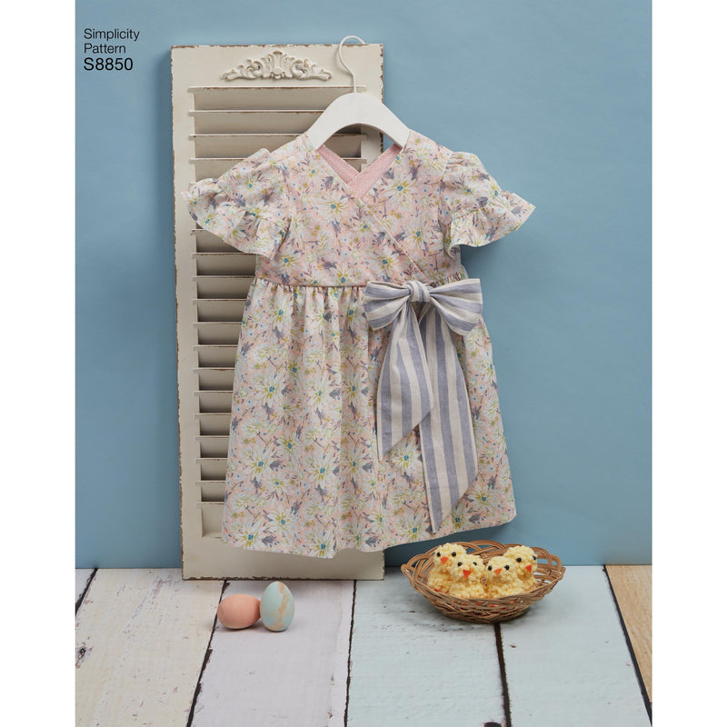 Simplicity Pattern 8850-toddlers dress jumpsuit basket and toy from Jaycotts Sewing Supplies