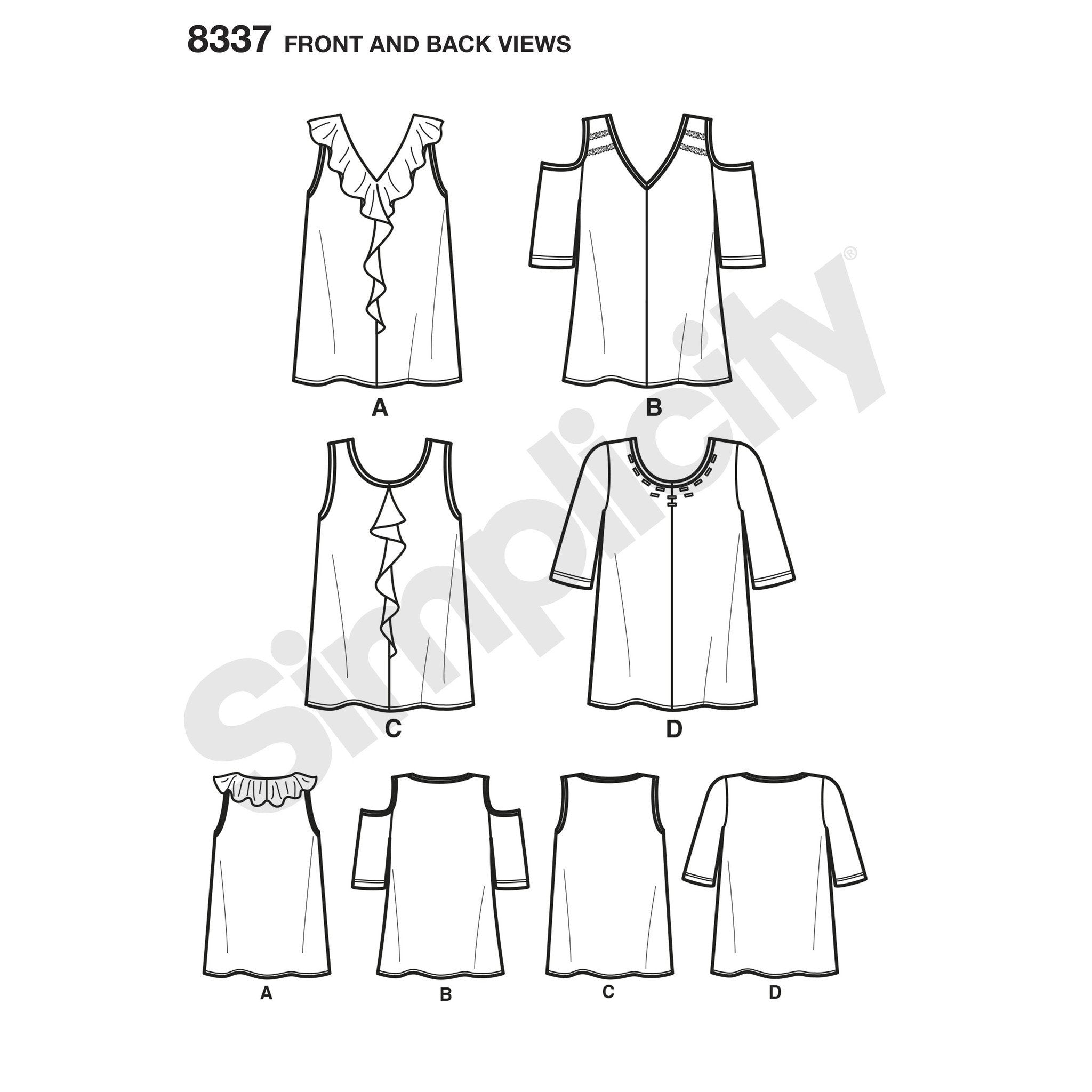 S8337 Misses' Knit Tops with Bodice and Sleeve Variations