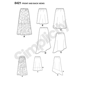 Simplicity Pattern 8421 skirts in three lengths with hem variations