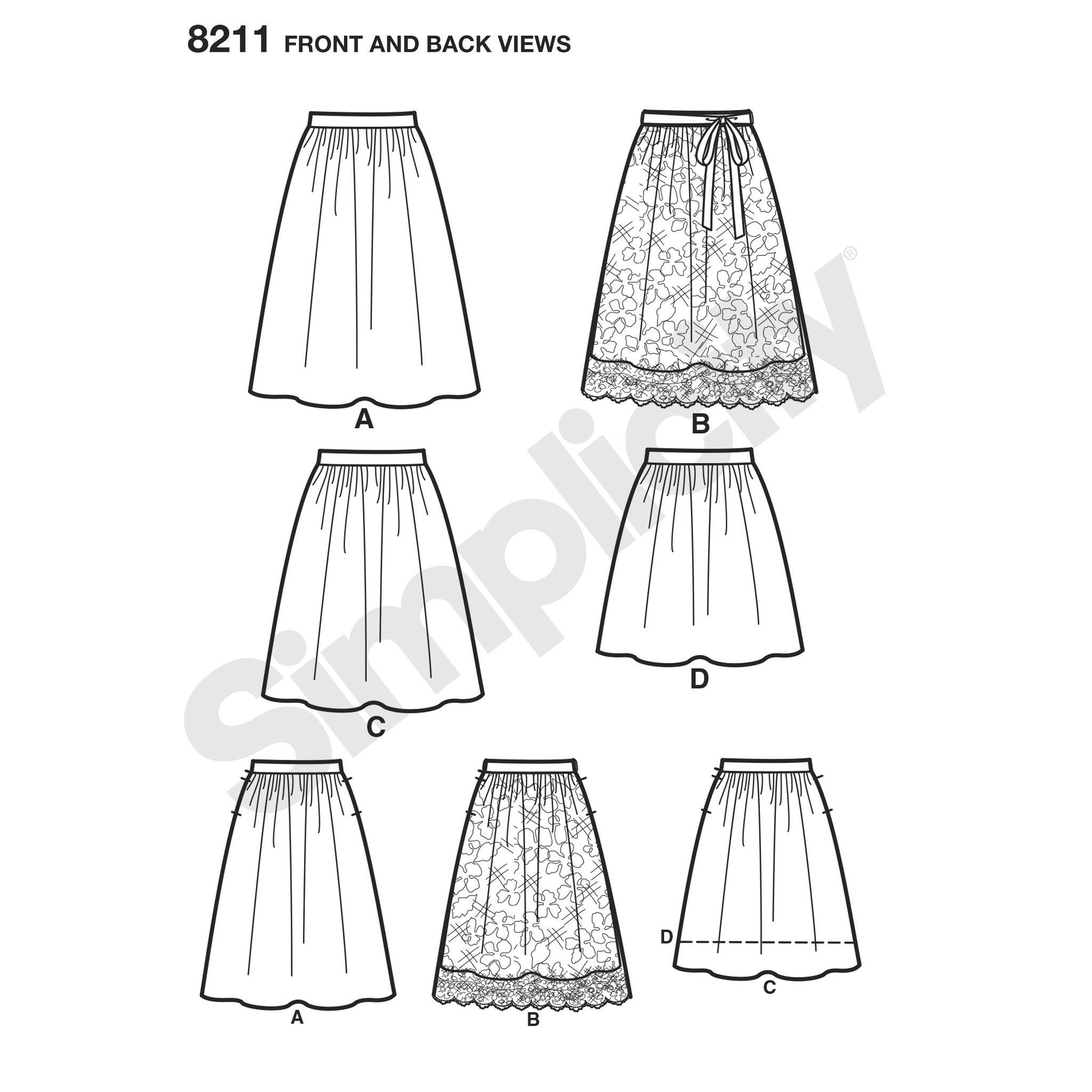 S8211 Misses' Dirndl Skirts in Three Lengths