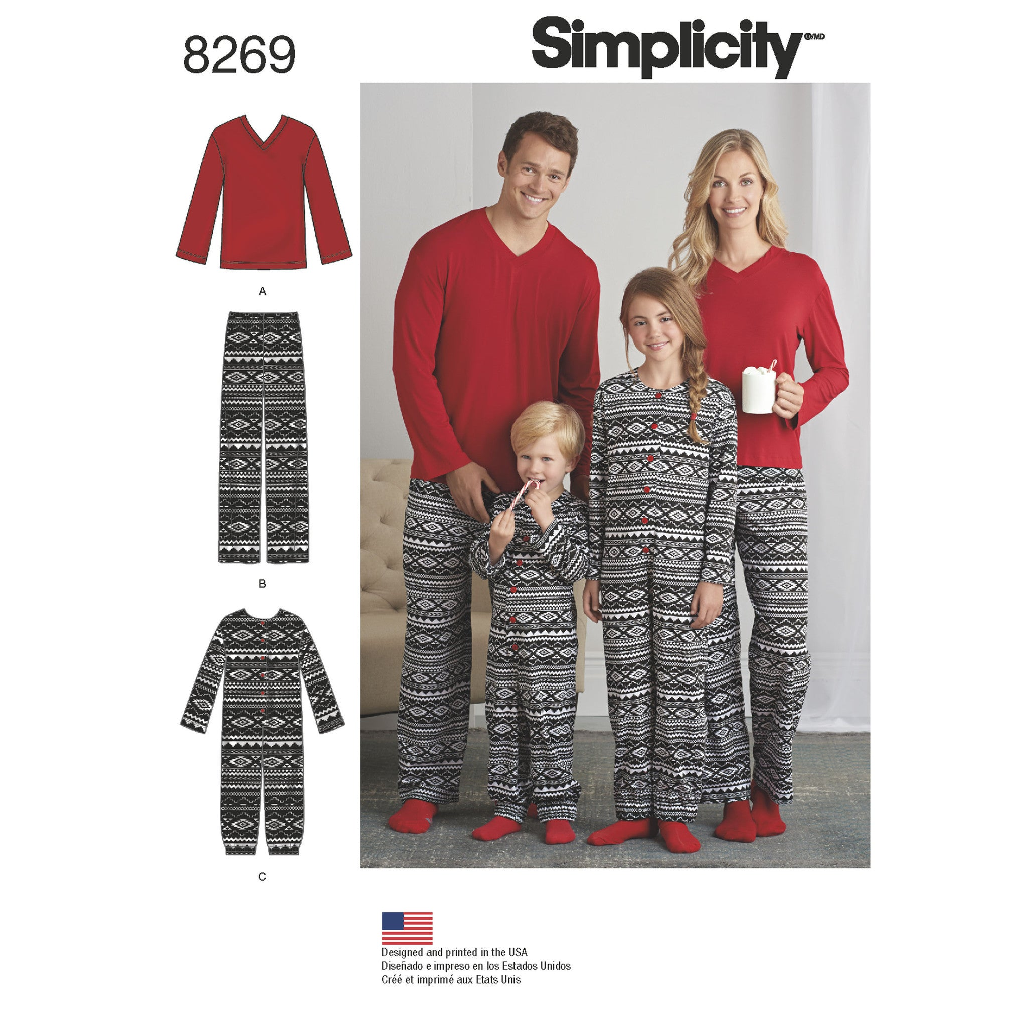S8269 Child's Jumpsuit and Teens' / Adults' Pants and Knit Top