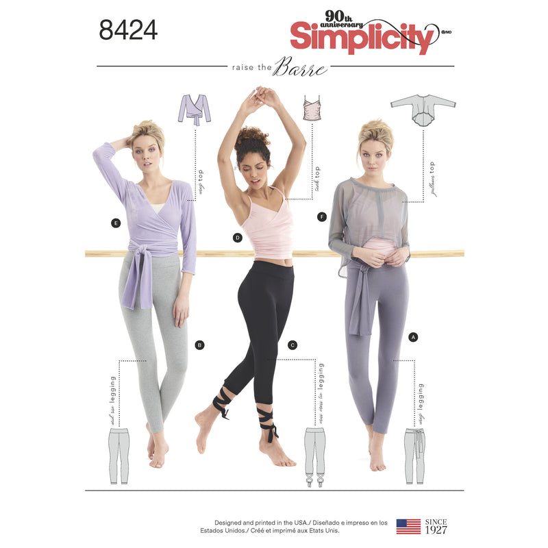 Simplicity Pattern 8424 knit leggings in two lengths and three top options