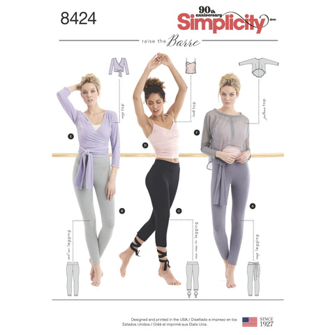 S8424 Knit Leggings in Two Lengths and Three Top Options